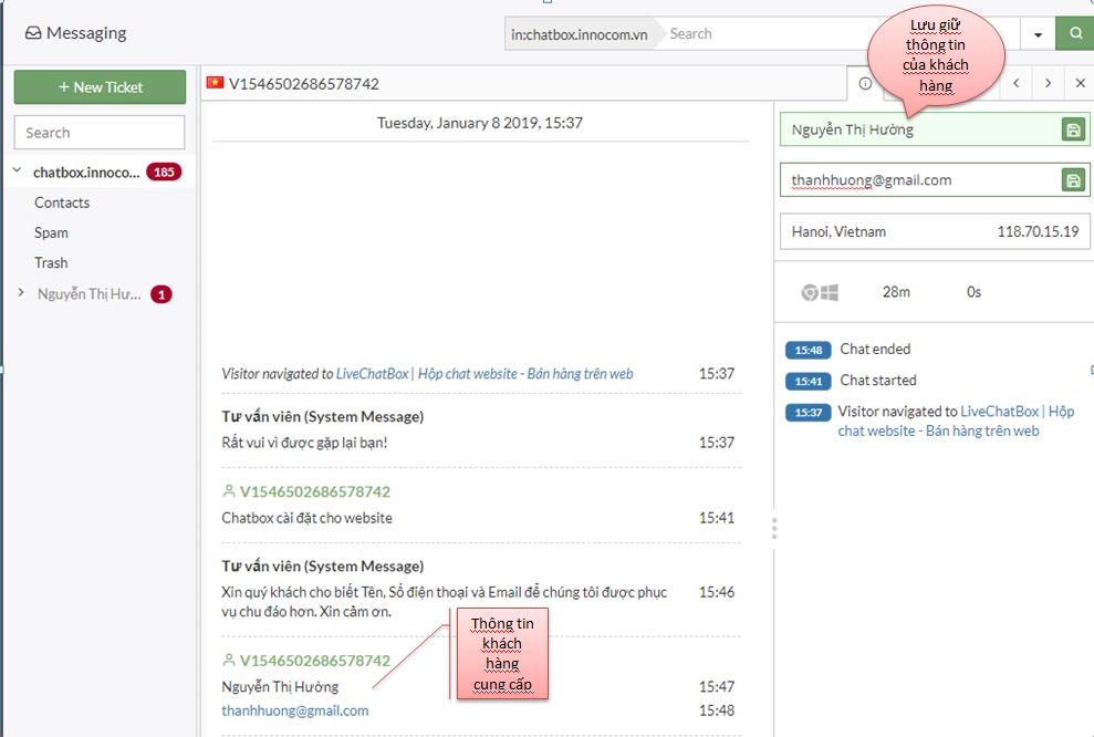 Sử dụng LiveChatbox cực đơn giản