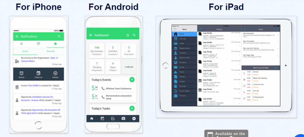 Vtiger 360 Mobile CRM App for IOS and Android from Vtiger CRM 1 1024x461 Vtiger module quản lý dữ liệu tập trung