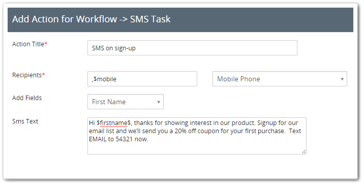 Marketing SMS với Vtiger CRM